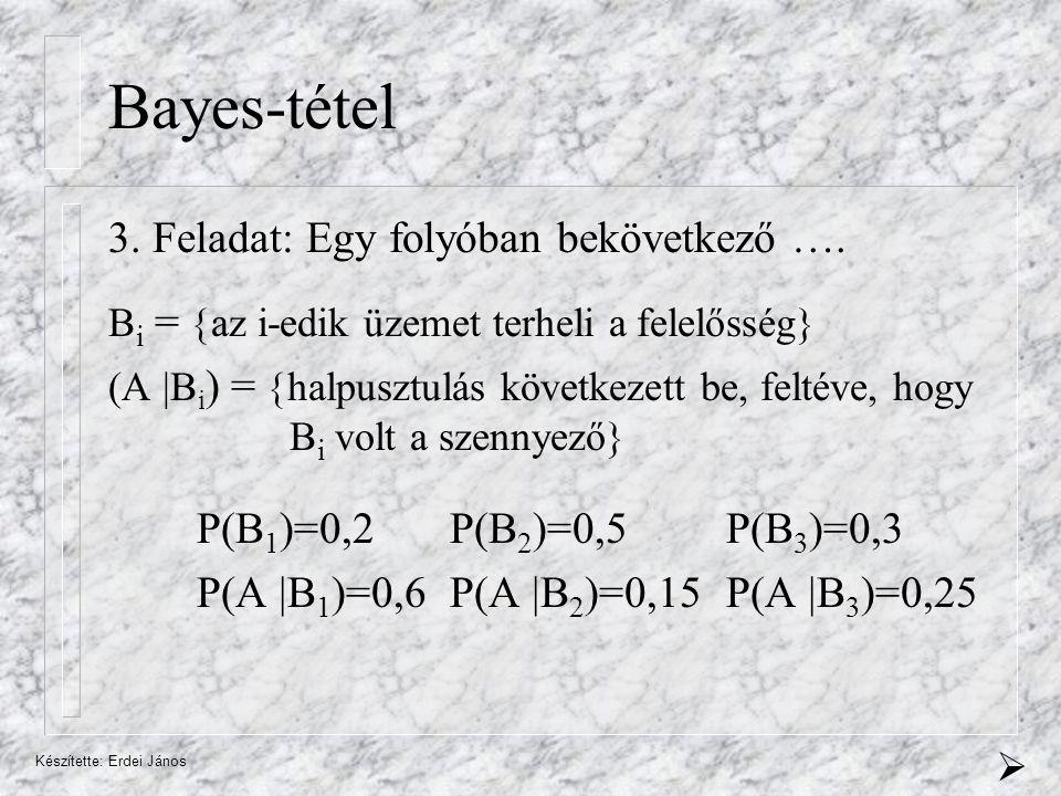 Készítette: Erdei János Bayes-tétel 3.Feladat: Egy folyóban bekövetkező ….