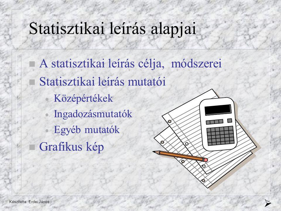 Készítette: Erdei János Statisztikai leírás alapjai A statisztikai leírás célja, módszerei Statisztikai leírás mutatói  Középértékek  Ingadozásmutatók  Egyéb mutatók Grafikus kép 