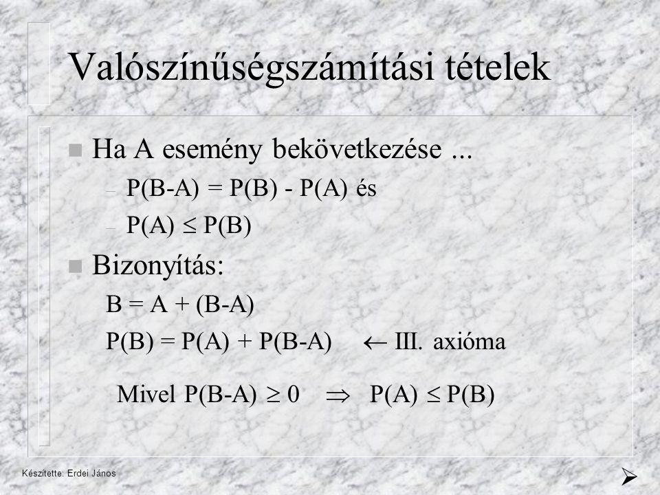 Készítette: Erdei János Bayes-tétel Bizonyítás: P(B k  A)·P(A) = P(A  B k ) ·P(B k ) P(B k ·A)P(A·B k ) Teljes valószínűség tétele 