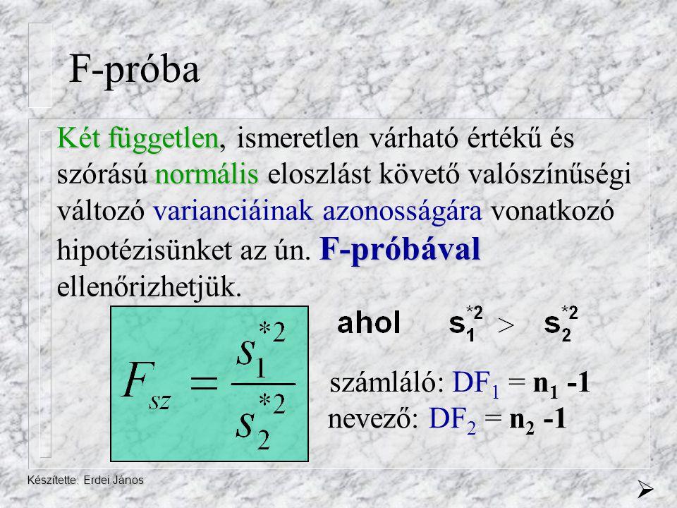 Készítette: Erdei János F-próba Két független normális F-próbával Két független, ismeretlen várható értékű és szórású normális eloszlást követő valósz