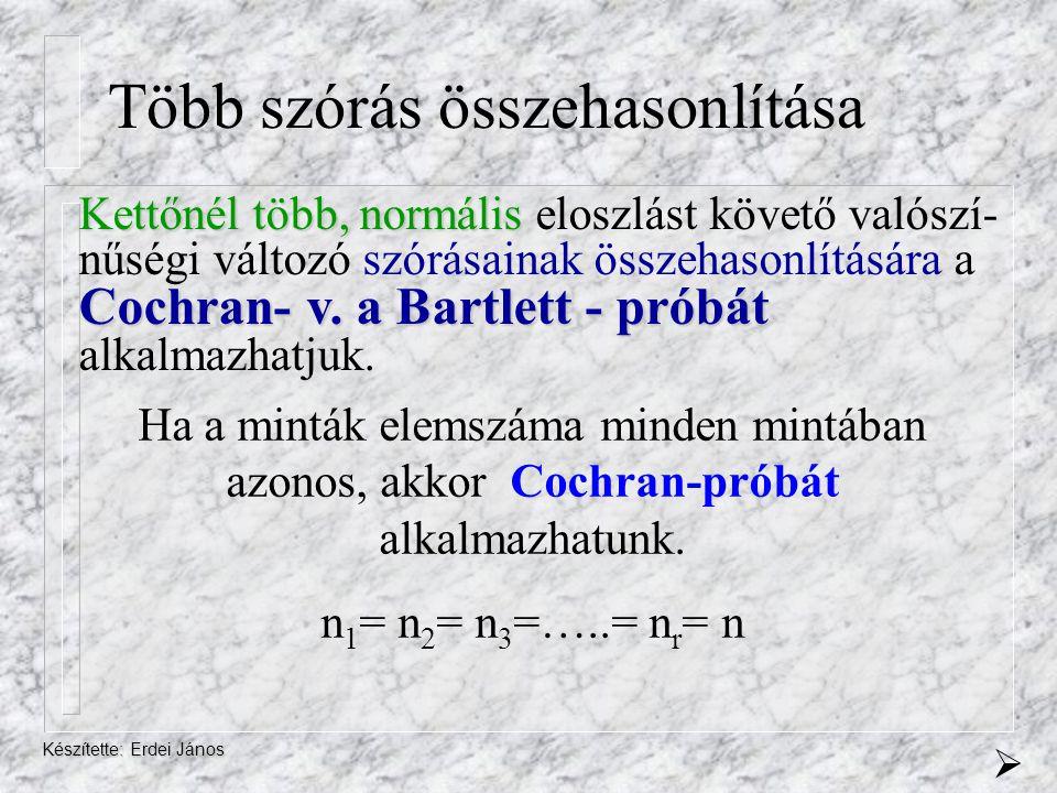 Készítette: Erdei János Több szórás összehasonlítása Kettőnél több, több, normális normális eloszlást követő valószí- nűségi változó szórásainak össze