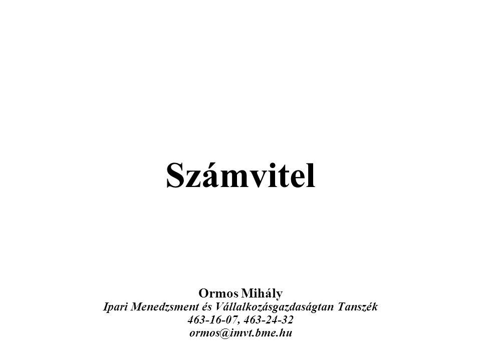 Mérnöki Gazdaságtan, Ormos Mihály 112 6.4.2.D.Saját tőke VI.