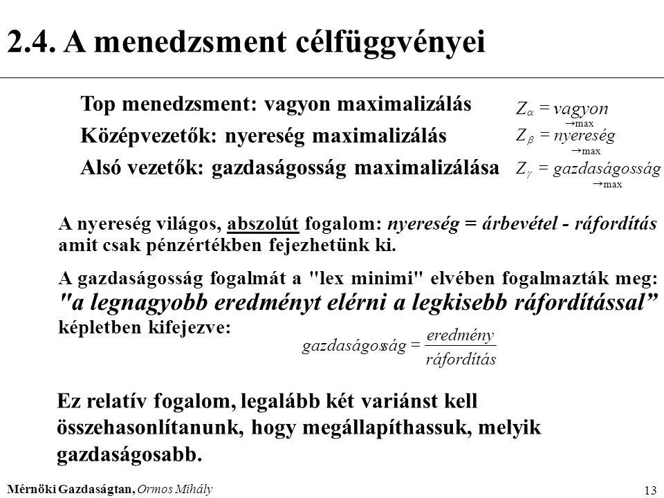 Mérnöki Gazdaságtan, Ormos Mihály 13 Top menedzsment: vagyon maximalizálás Középvezetők: nyereség maximalizálás Alsó vezetők: gazdaságosság maximalizá
