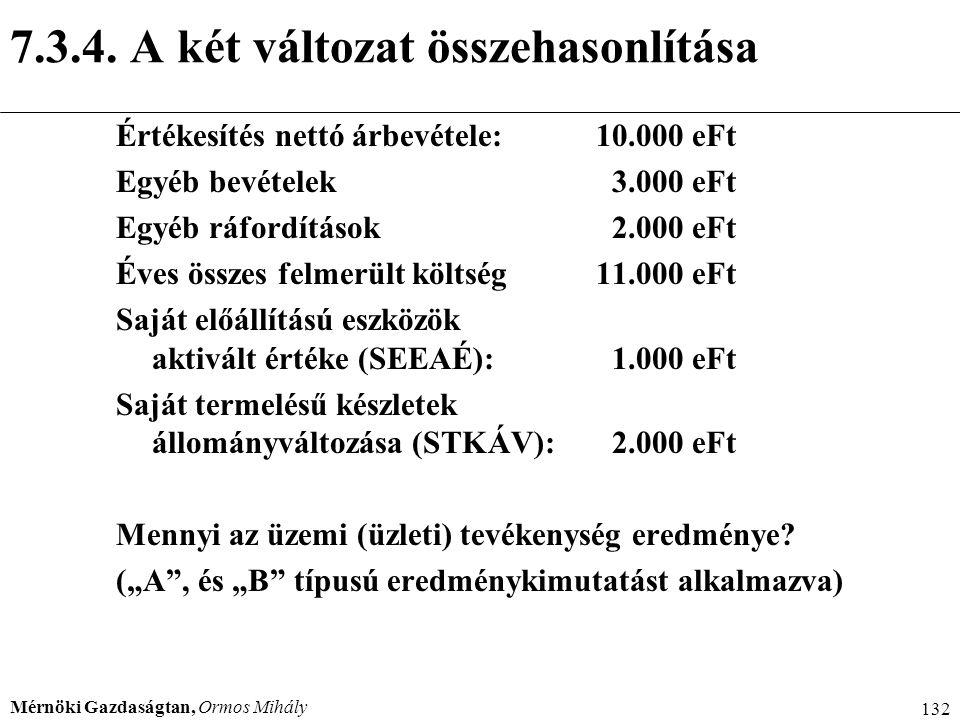 Mérnöki Gazdaságtan, Ormos Mihály 132 7.3.4. A két változat összehasonlítása Értékesítés nettó árbevétele:10.000 eFt Egyéb bevételek 3.000 eFt Egyéb r
