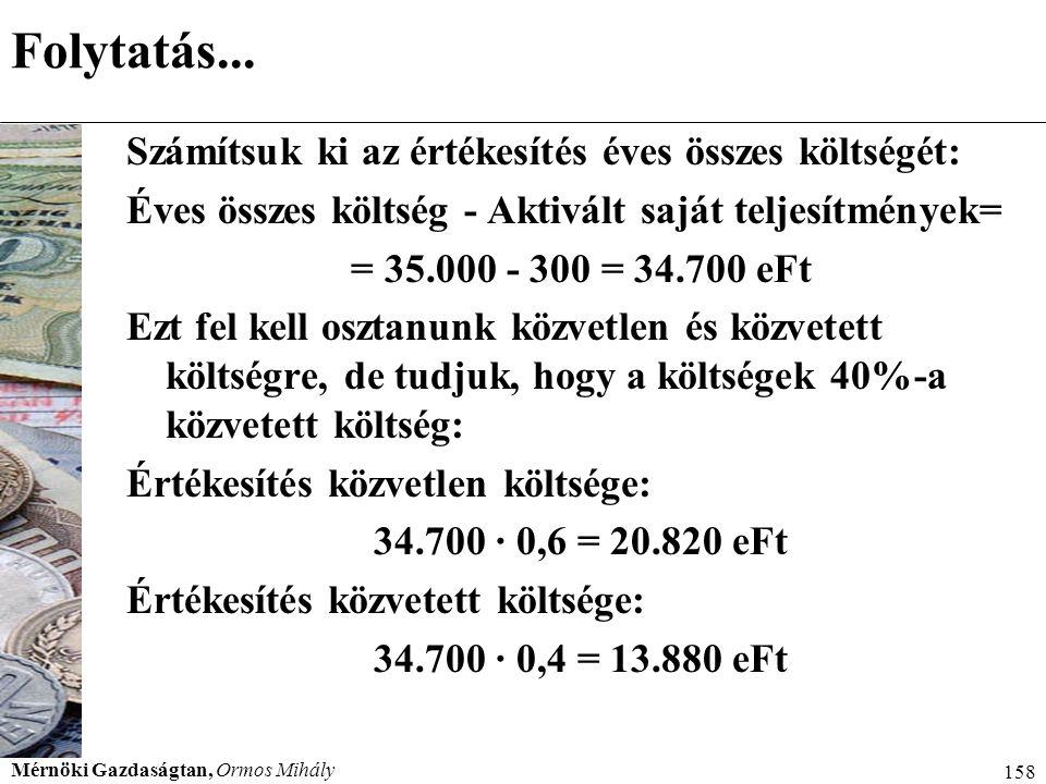 Mérnöki Gazdaságtan, Ormos Mihály 158 Folytatás... Számítsuk ki az értékesítés éves összes költségét: Éves összes költség - Aktivált saját teljesítmén
