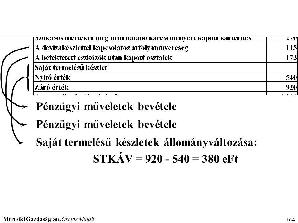 Mérnöki Gazdaságtan, Ormos Mihály 164 Pénzügyi műveletek bevétele Saját termelésű készletek állományváltozása: STKÁV = 920 - 540 = 380 eFt