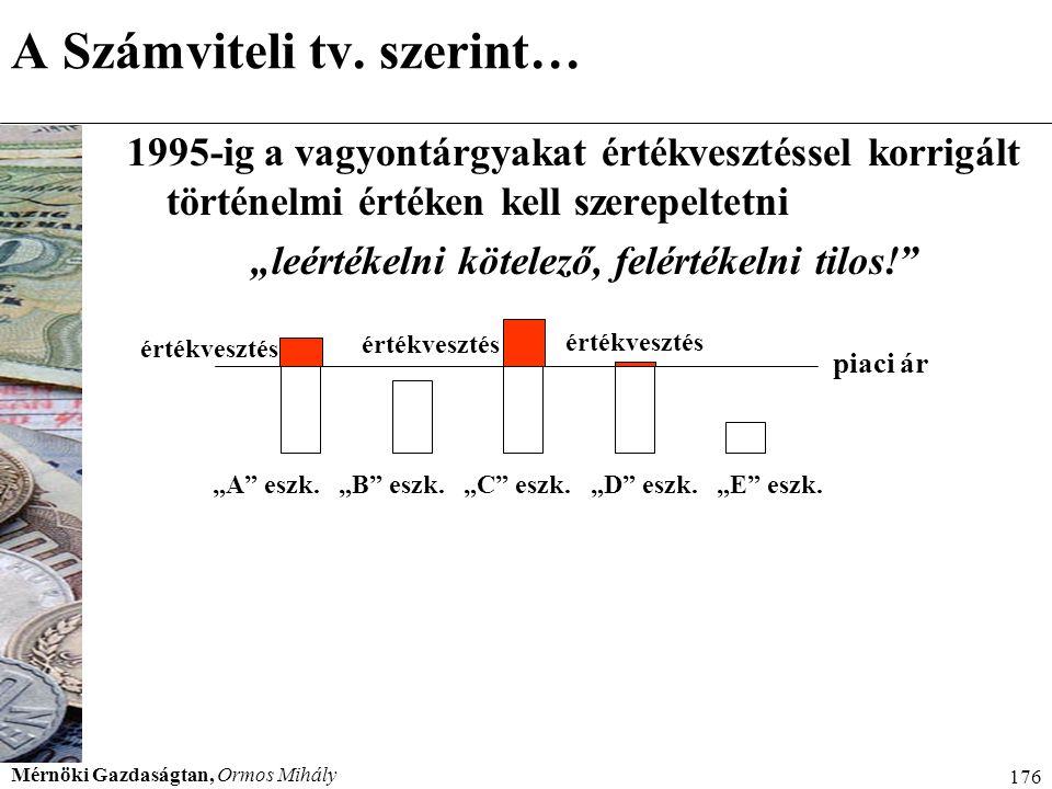 Mérnöki Gazdaságtan, Ormos Mihály 176 A Számviteli tv. szerint… 1995-ig a vagyontárgyakat értékvesztéssel korrigált történelmi értéken kell szerepelte