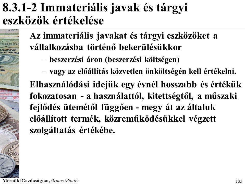 Mérnöki Gazdaságtan, Ormos Mihály 183 8.3.1-2 Immateriális javak és tárgyi eszközök értékelése Az immateriális javakat és tárgyi eszközöket a vállalko