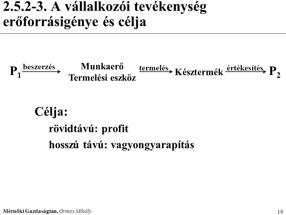 Mérnöki Gazdaságtan, Ormos Mihály 19 2.5.2-3. A vállalkozói tevékenység erőforrásigénye és célja Célja: rövidtávú: profit hosszú távú: vagyongyarapítá
