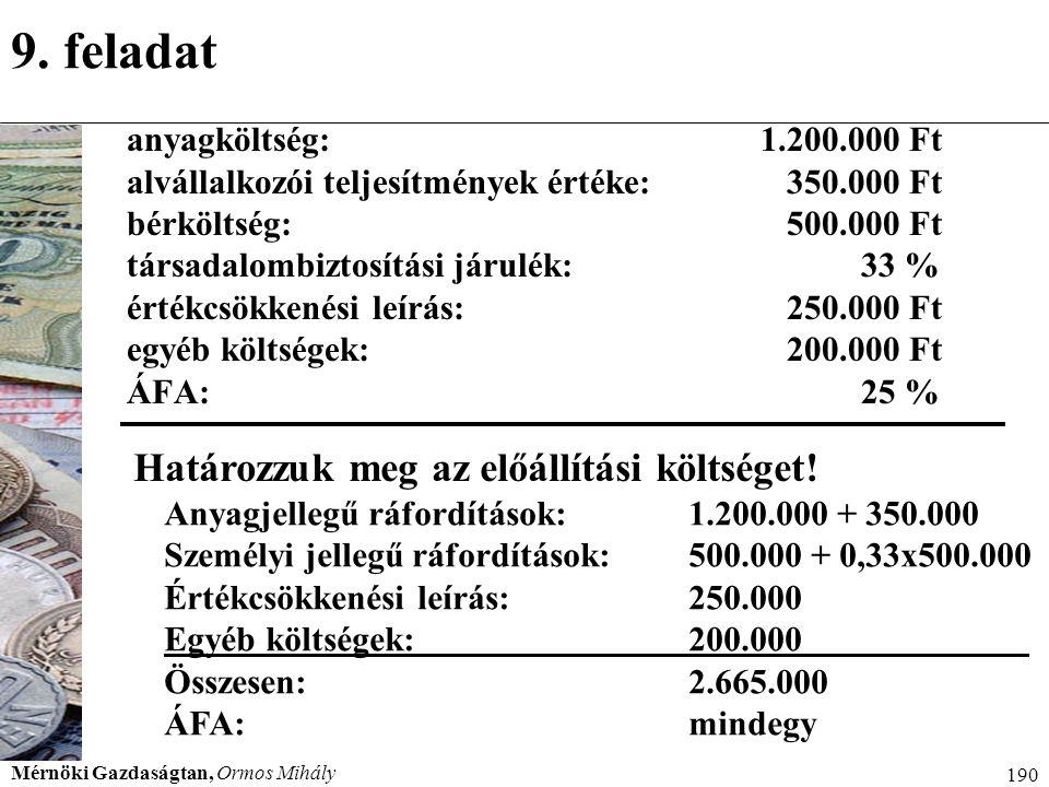 Mérnöki Gazdaságtan, Ormos Mihály 190 9. feladat anyagköltség:1.200.000 Ft alvállalkozói teljesítmények értéke: 350.000 Ft bérköltség: 500.000 Ft társ