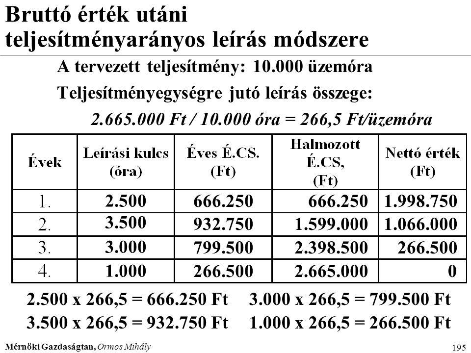 Mérnöki Gazdaságtan, Ormos Mihály 195 Bruttó érték utáni teljesítményarányos leírás módszere A tervezett teljesítmény: 10.000 üzemóra Teljesítményegys