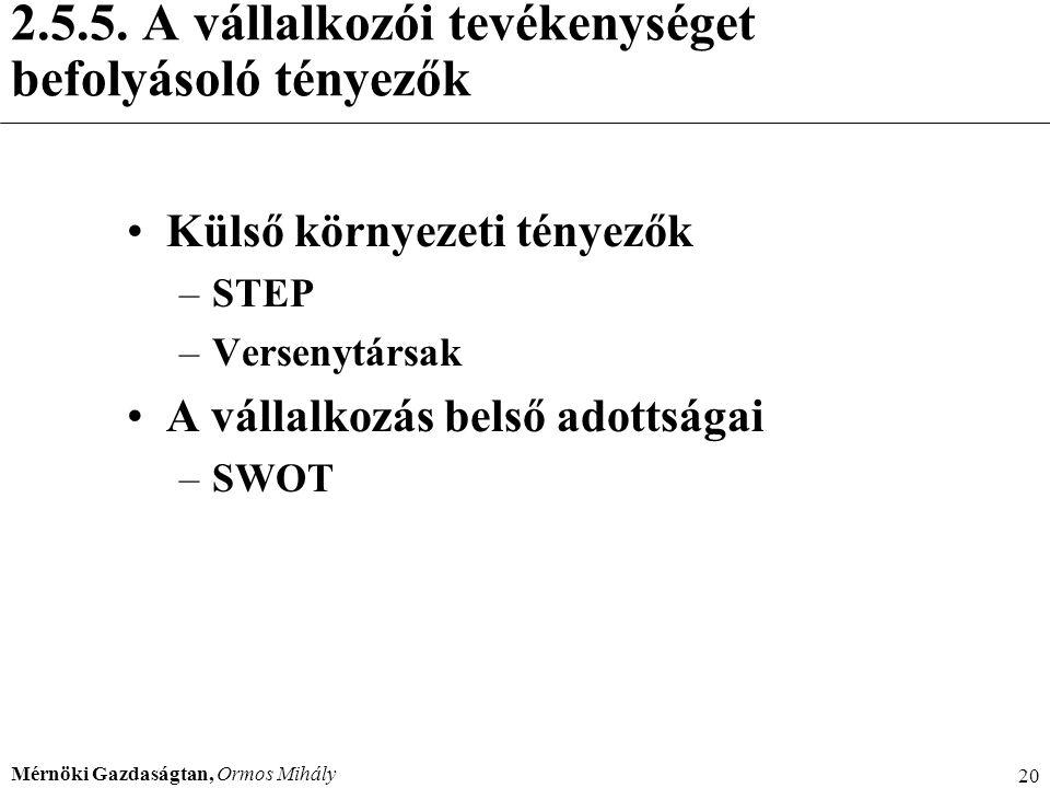 Mérnöki Gazdaságtan, Ormos Mihály 20 2.5.5. A vállalkozói tevékenységet befolyásoló tényezők Külső környezeti tényezők –STEP –Versenytársak A vállalko