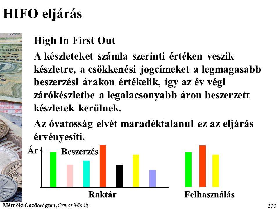 Mérnöki Gazdaságtan, Ormos Mihály 200 HIFO eljárás High In First Out A készleteket számla szerinti értéken veszik készletre, a csökkenési jogcímeket a