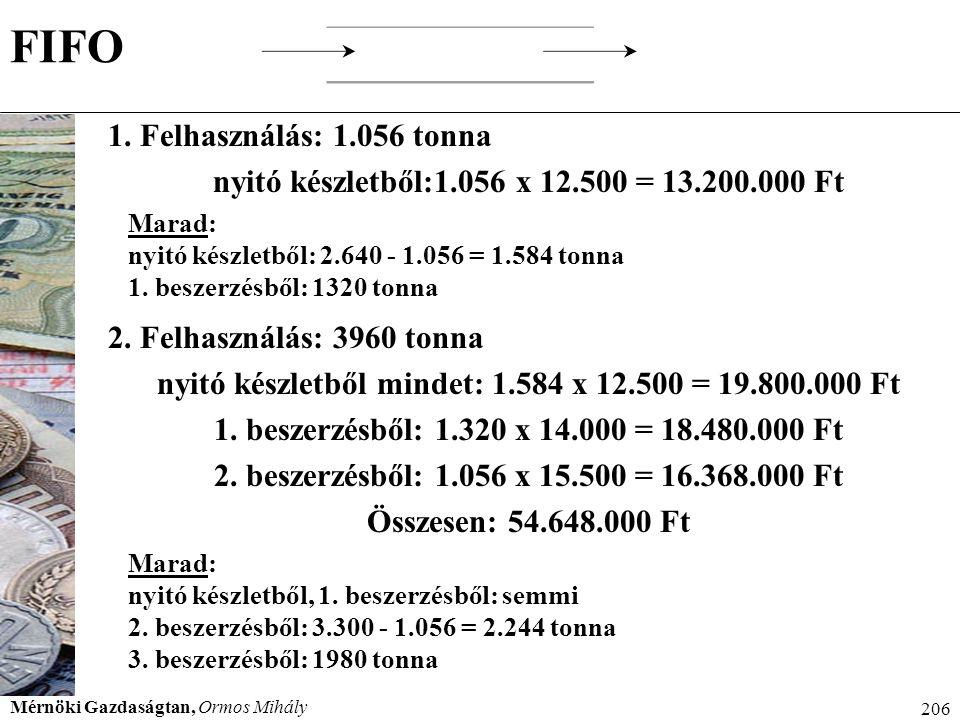 Mérnöki Gazdaságtan, Ormos Mihály 206 FIFO 1. Felhasználás: 1.056 tonna nyitó készletből:1.056 x 12.500 = 13.200.000 Ft Marad: nyitó készletből: 2.640