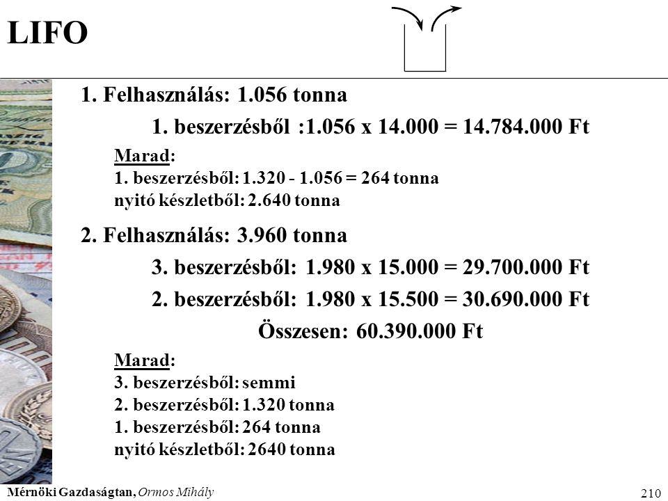 Mérnöki Gazdaságtan, Ormos Mihály 210 LIFO 1. Felhasználás: 1.056 tonna 1. beszerzésből :1.056 x 14.000 = 14.784.000 Ft Marad: 1. beszerzésből: 1.320