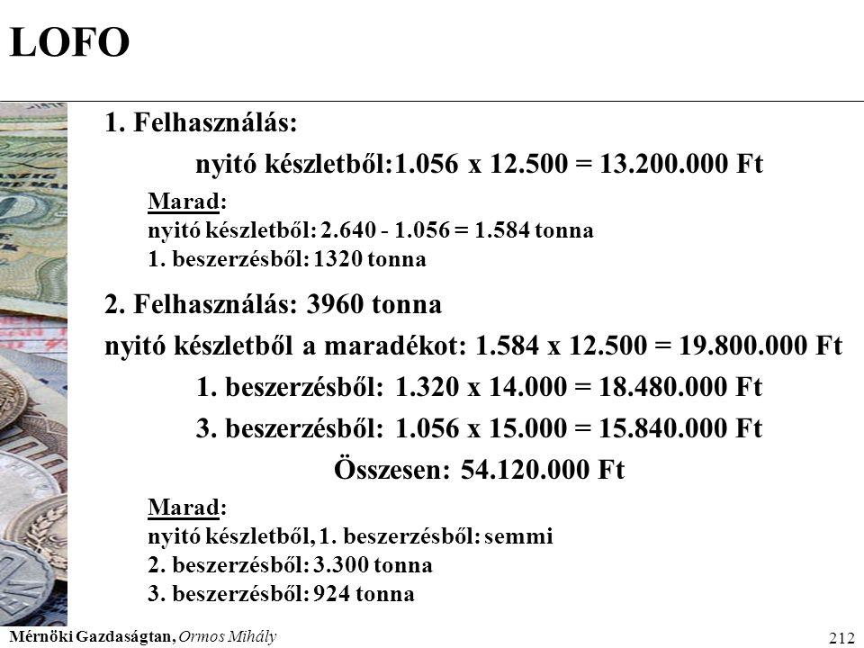 Mérnöki Gazdaságtan, Ormos Mihály 212 LOFO 1. Felhasználás: nyitó készletből:1.056 x 12.500 = 13.200.000 Ft Marad: nyitó készletből: 2.640 - 1.056 = 1