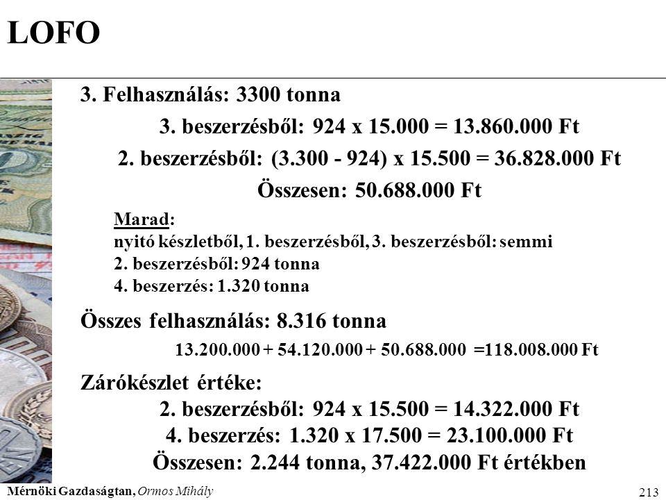 Mérnöki Gazdaságtan, Ormos Mihály 213 LOFO 3. Felhasználás: 3300 tonna 3. beszerzésből: 924 x 15.000 = 13.860.000 Ft 2. beszerzésből: (3.300 - 924) x
