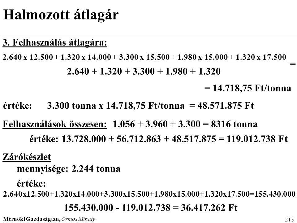 Mérnöki Gazdaságtan, Ormos Mihály 215 Halmozott átlagár 3. Felhasználás átlagára: 2.640 x 12.500 + 1.320 x 14.000 + 3.300 x 15.500 + 1.980 x 15.000 +