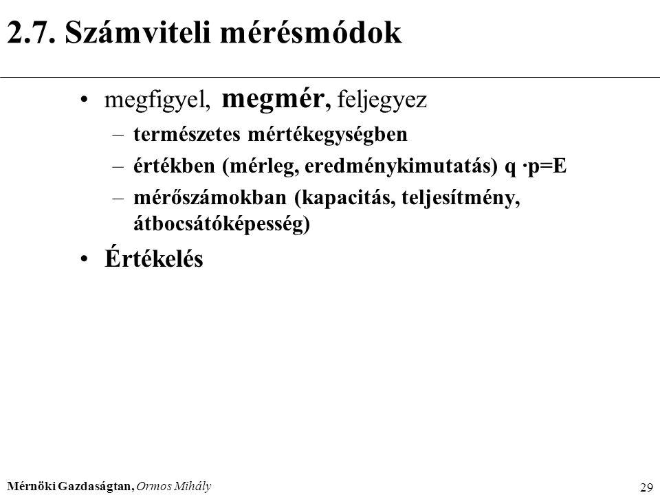 Mérnöki Gazdaságtan, Ormos Mihály 29 2.7. Számviteli mérésmódok megfigyel, megmér, feljegyez –természetes mértékegységben –értékben (mérleg, eredményk