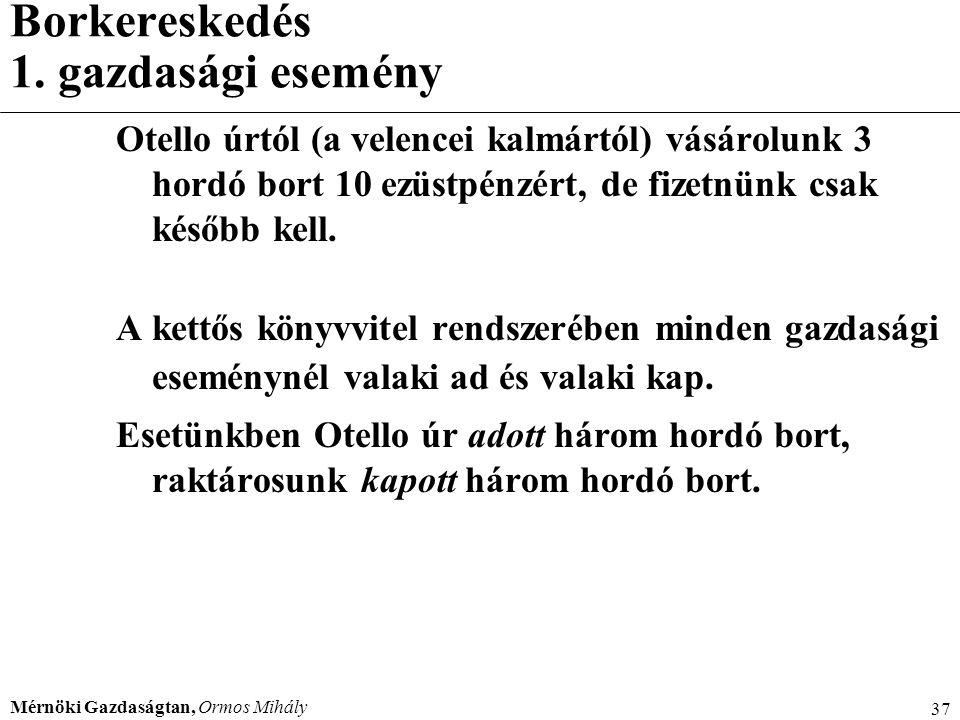 Mérnöki Gazdaságtan, Ormos Mihály 37 Borkereskedés 1. gazdasági esemény Otello úrtól (a velencei kalmártól) vásárolunk 3 hordó bort 10 ezüstpénzért, d