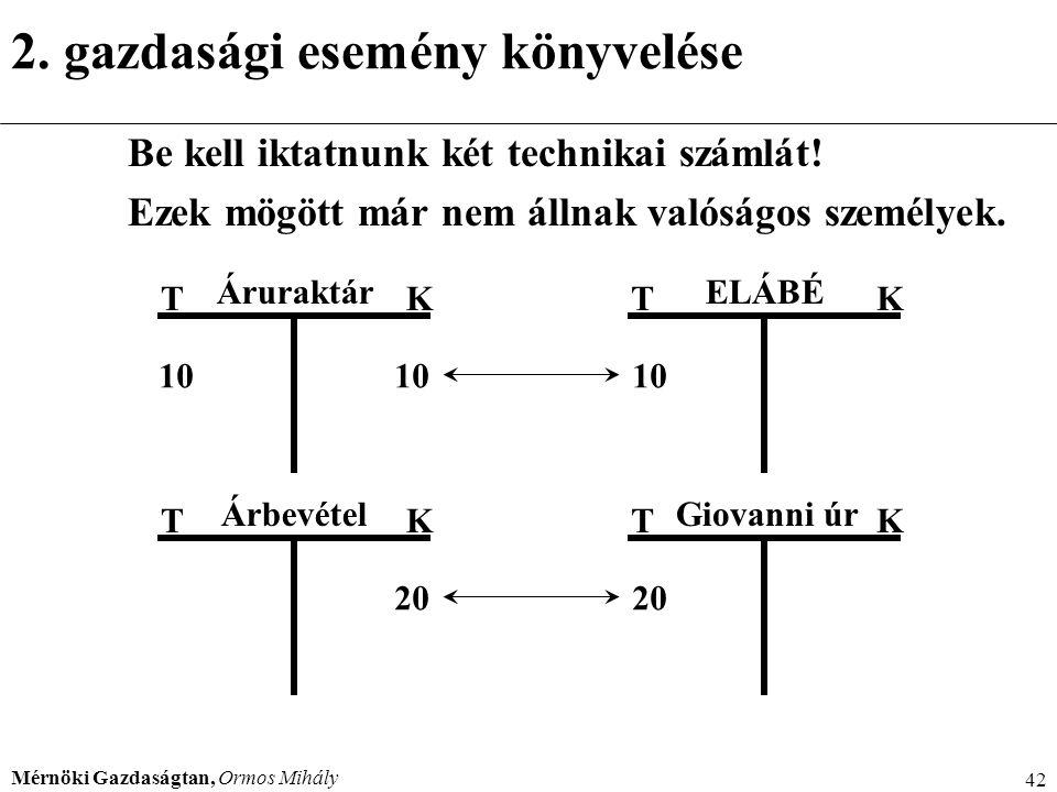 Mérnöki Gazdaságtan, Ormos Mihály 42 2. gazdasági esemény könyvelése Be kell iktatnunk két technikai számlát! Ezek mögött már nem állnak valóságos sze