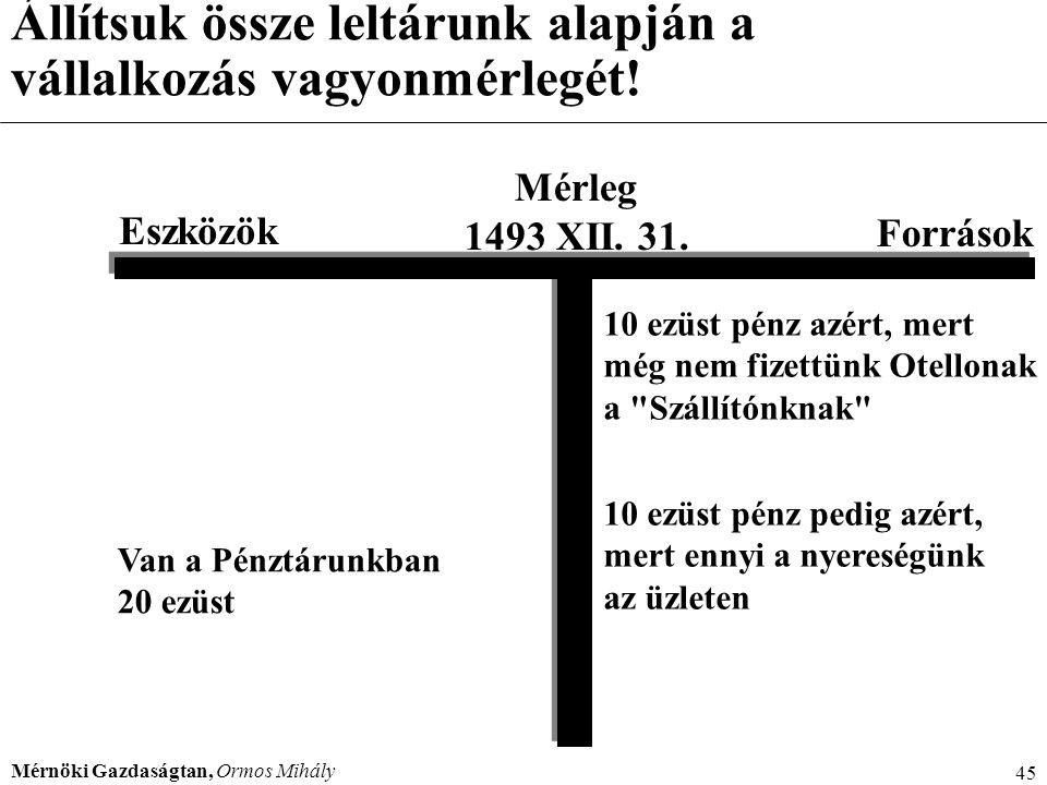 Mérnöki Gazdaságtan, Ormos Mihály 45 Állítsuk össze leltárunk alapján a vállalkozás vagyonmérlegét! Mérleg 1493 XII. 31. Eszközök Források Van a Pénzt