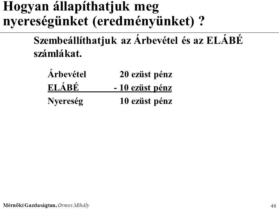 Mérnöki Gazdaságtan, Ormos Mihály 46 Hogyan állapíthatjuk meg nyereségünket (eredményünket) ? Szembeállíthatjuk az Árbevétel és az ELÁBÉ számlákat. Ár