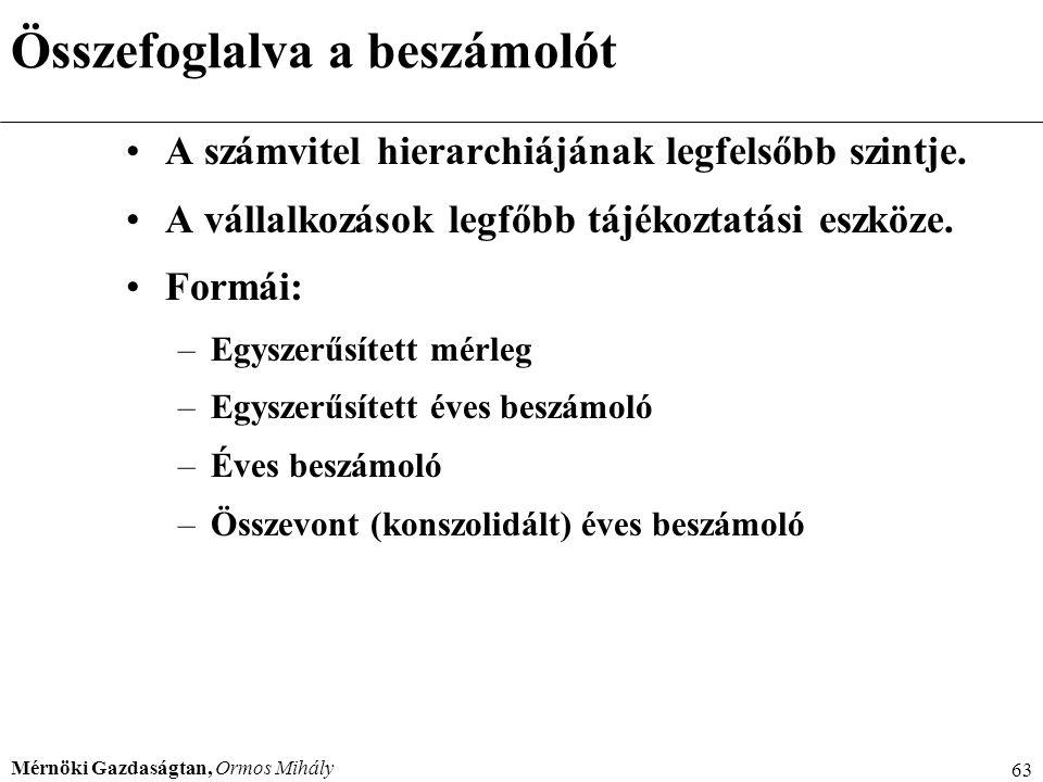 Mérnöki Gazdaságtan, Ormos Mihály 63 Összefoglalva a beszámolót A számvitel hierarchiájának legfelsőbb szintje. A vállalkozások legfőbb tájékoztatási
