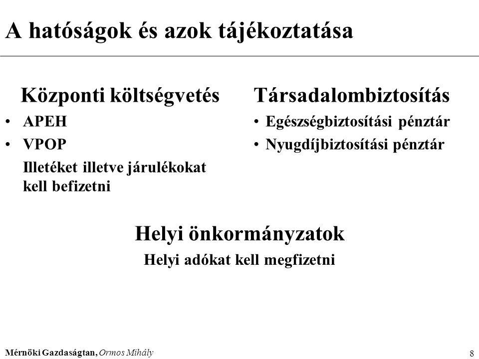 Mérnöki Gazdaságtan, Ormos Mihály 8 A hatóságok és azok tájékoztatása Központi költségvetés APEH VPOP Illetéket illetve járulékokat kell befizetni Tár