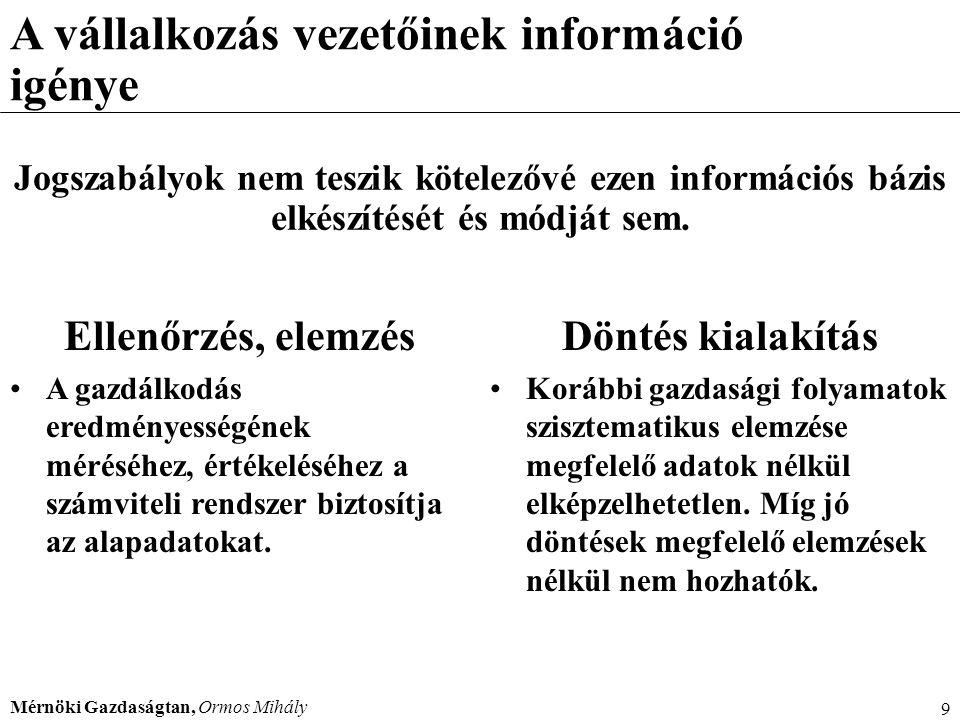 Mérnöki Gazdaságtan, Ormos Mihály 230 Alapelvek A költség-haszon összevetésének elve: A beszámolóban nyilvánosságra hozott információk hasznossága álljon arányban az információk előállításának költségeivel.