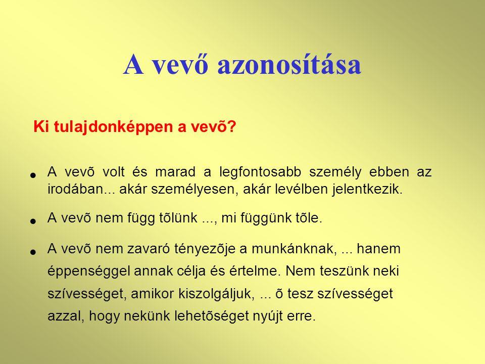 A vevő azonosítása A vevõ volt és marad a legfontosabb személy ebben az irodában... akár személyesen, akár levélben jelentkezik. A vevõ nem függ tõlün