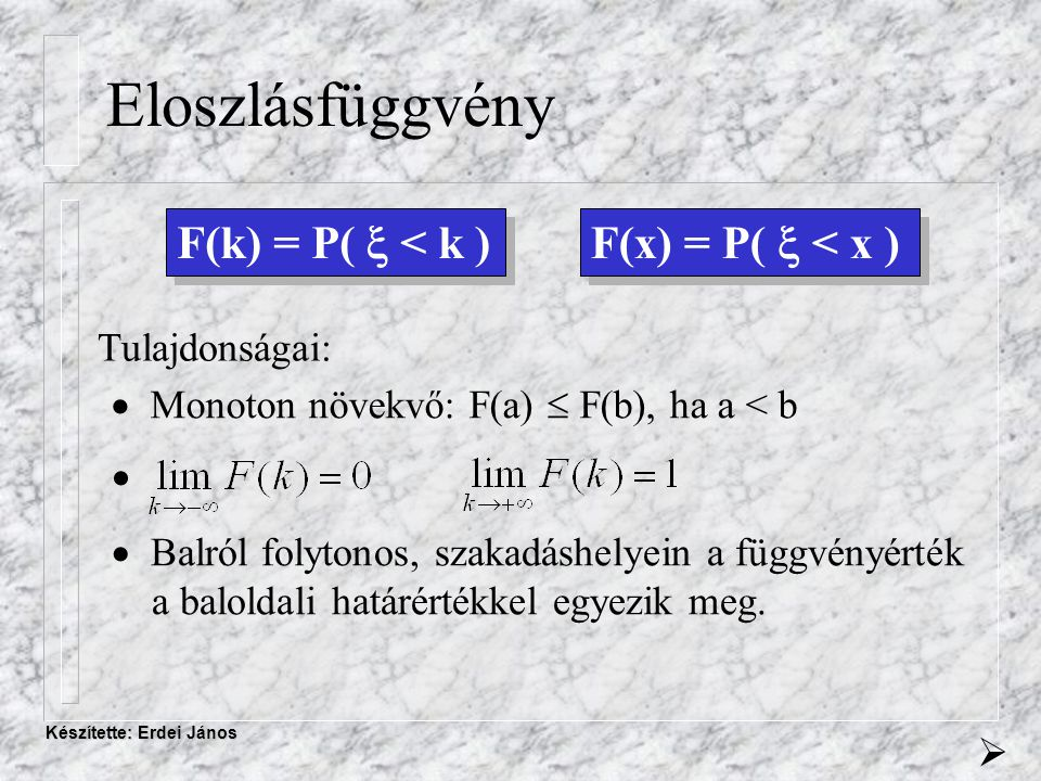 Készítette: Erdei János Becslés A becslés elmélete Tulajdonságok - Konzisztens - Torzítatlan - Hatásos - Elégséges 