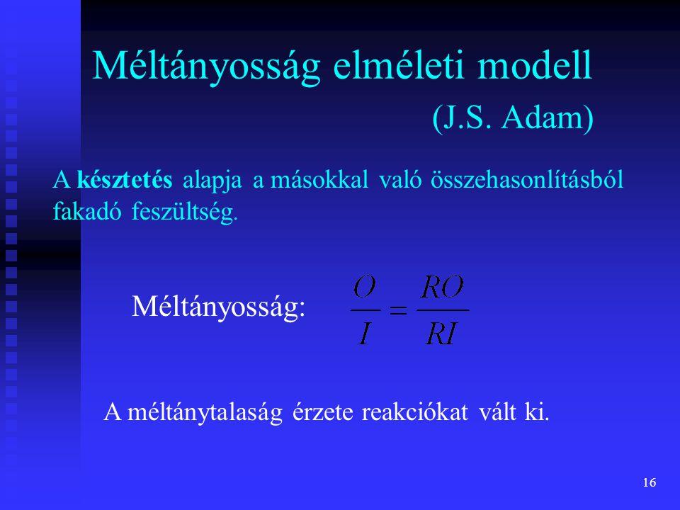 16 Méltányosság elméleti modell (J.S. Adam) A késztetés alapja a másokkal való összehasonlításból fakadó feszültség. Méltányosság: A méltánytalaság ér