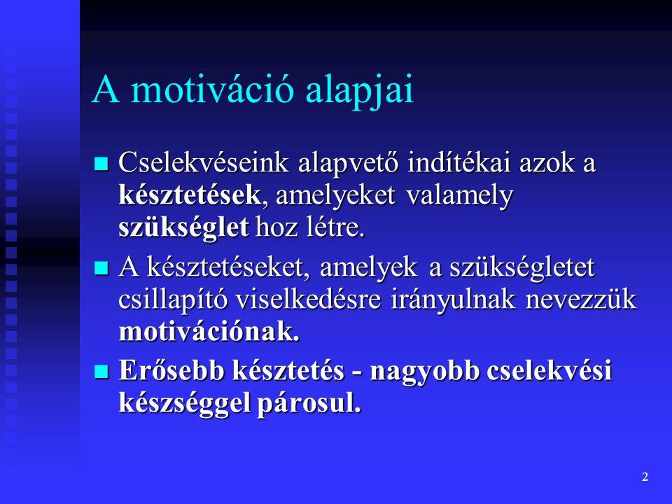 13 McClelland féle elmélet Siker vagy teljesítmény motívum (achivement need) a siker elérésére, a teljesítmény fokozására vonatkozó késztetés (ellentéte a kudarc kerülés) Hatalom motívum (power need) mások befolyásolásának fontossága Társulási motívum (affiliációs need ) a mások általi elfogadás, együttműködés igényéből fakad