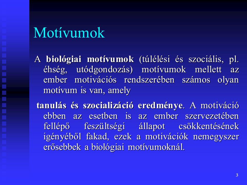 3 Motívumok A biológiai motívumok (túlélési és szociális, pl. éhség, utódgondozás) motívumok mellett az ember motivációs rendszerében számos olyan mot
