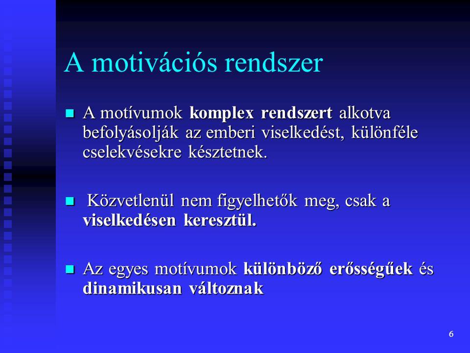 6 A motivációs rendszer A motívumok komplex rendszert alkotva befolyásolják az emberi viselkedést, különféle cselekvésekre késztetnek. A motívumok kom
