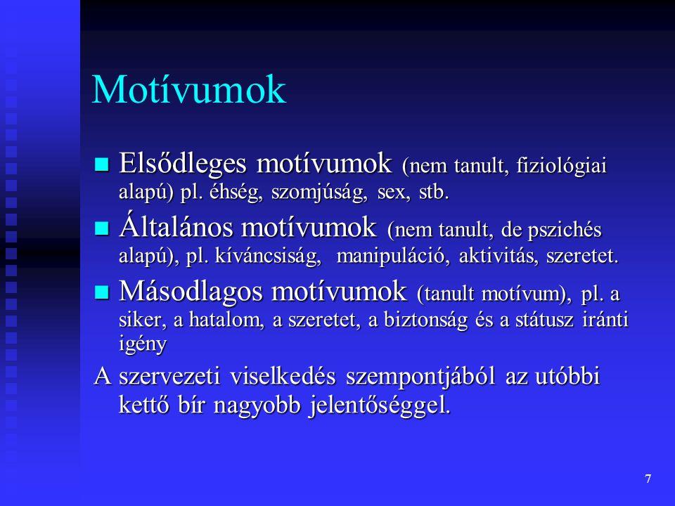 7 Motívumok Elsődleges motívumok (nem tanult, fiziológiai alapú) pl. éhség, szomjúság, sex, stb. Elsődleges motívumok (nem tanult, fiziológiai alapú)