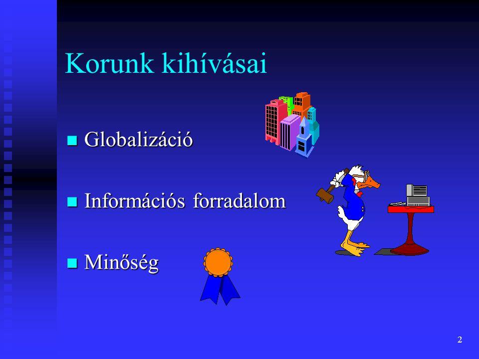 2 Korunk kihívásai Globalizáció Globalizáció Információs forradalom Információs forradalom Minőség Minőség