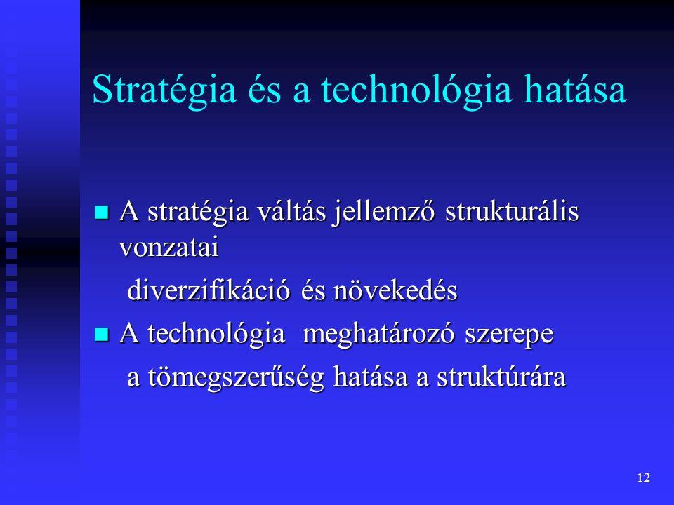 12 Stratégia és a technológia hatása A stratégia váltás jellemző strukturális vonzatai A stratégia váltás jellemző strukturális vonzatai diverzifikáci