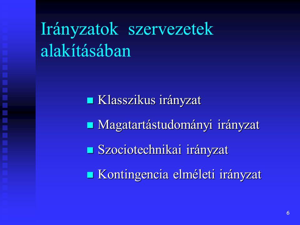 6 Irányzatok szervezetek alakításában Klasszikus irányzat Klasszikus irányzat Magatartástudományi irányzat Magatartástudományi irányzat Szociotechnika
