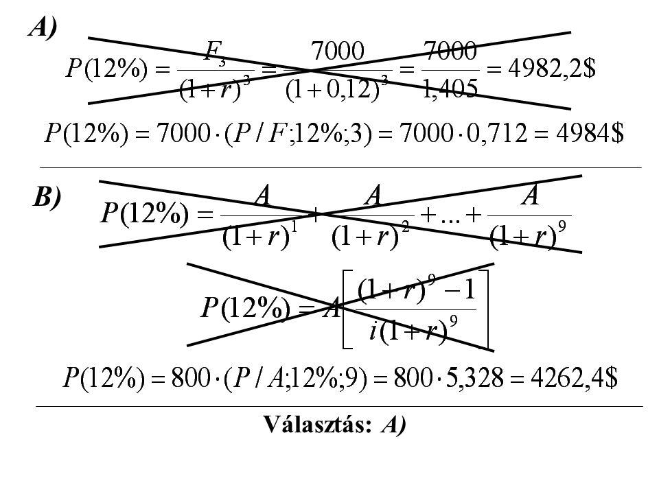 2. Példa: A) Mennyi az alább vázolt pénzáramlás- sorozat nettó jelenértéke? (r=8%)