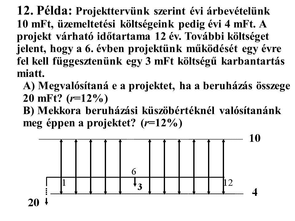 12. Példa: Projekttervünk szerint évi árbevételünk 10 mFt, üzemeltetési költségeink pedig évi 4 mFt. A projekt várható időtartama 12 év. További költs