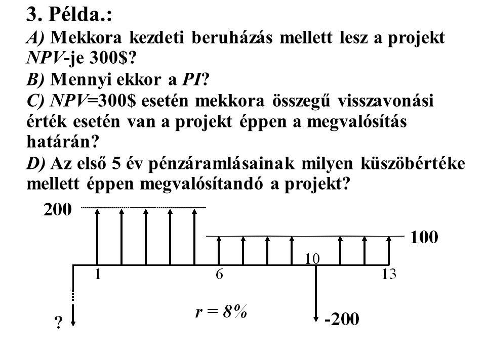 3.Példa.: A) Mekkora kezdeti beruházás mellett lesz a projekt NPV-je 300$.