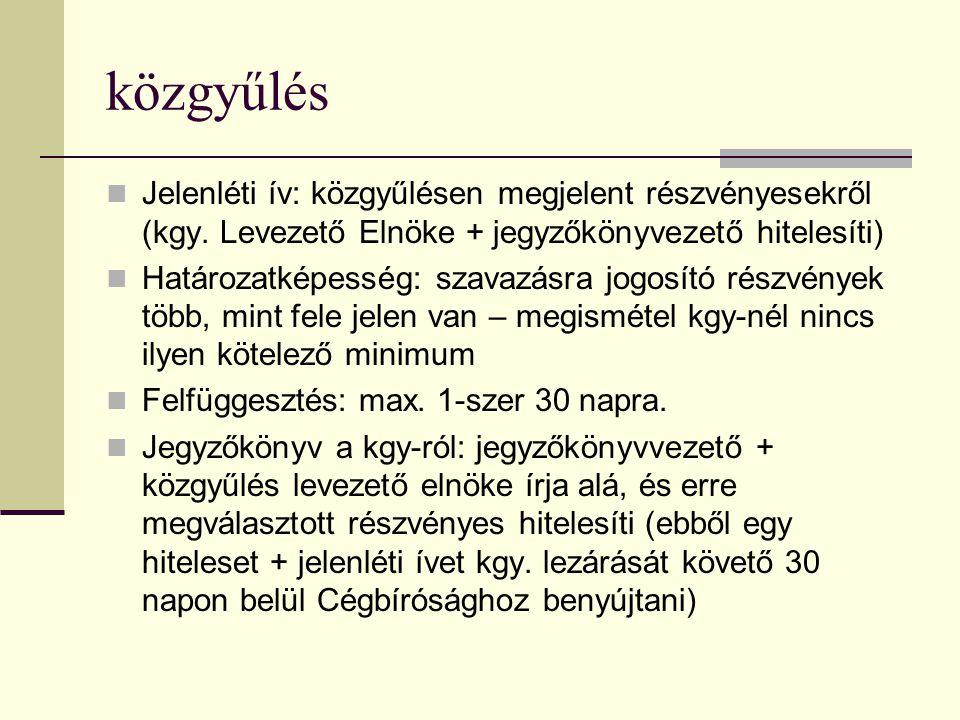 közgyűlés Jelenléti ív: közgyűlésen megjelent részvényesekről (kgy. Levezető Elnöke + jegyzőkönyvezető hitelesíti) Határozatképesség: szavazásra jogos