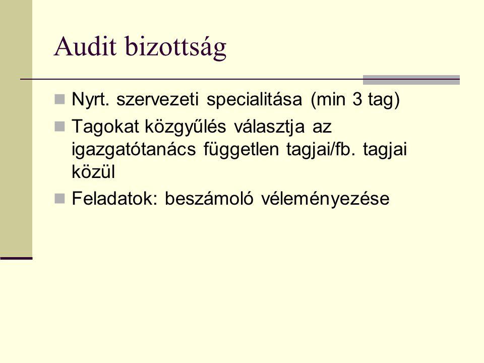 Audit bizottság Nyrt. szervezeti specialitása (min 3 tag) Tagokat közgyűlés választja az igazgatótanács független tagjai/fb. tagjai közül Feladatok: b
