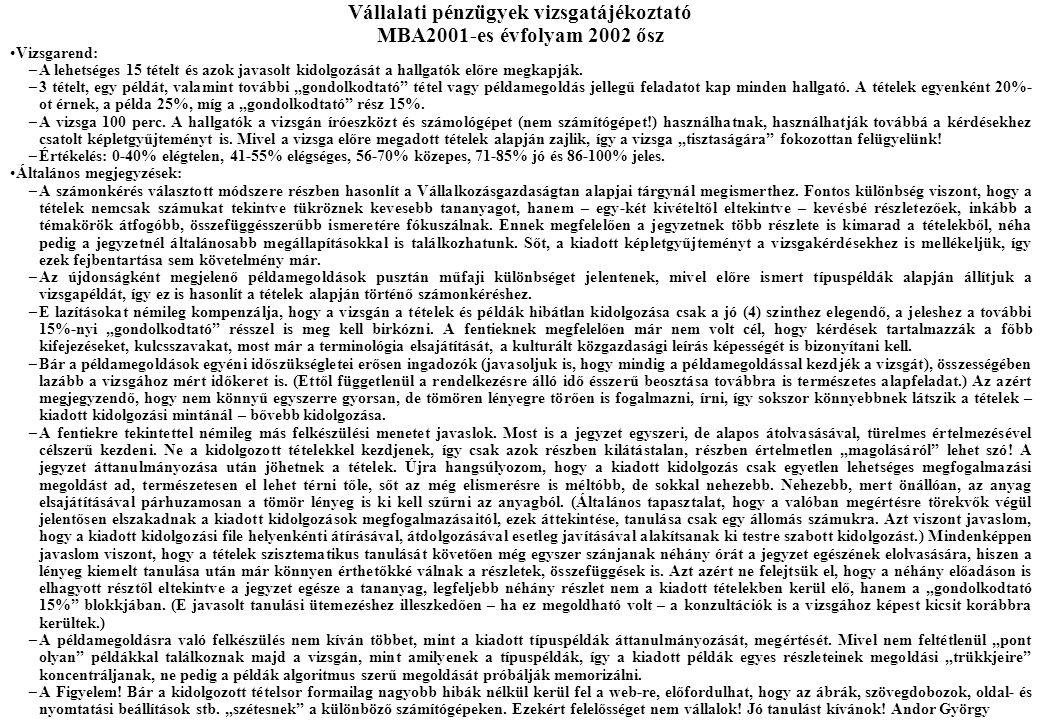 Vállalati pénzügyek vizsgatájékoztató MBA2001-es évfolyam 2002 ősz Vizsgarend: –A lehetséges 15 tételt és azok javasolt kidolgozását a hallgatók előre megkapják.