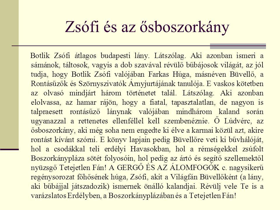 Zsófi és az ősboszorkány Botlik Zsófi átlagos budapesti lány. Látszólag. Aki azonban ismeri a sámánok, táltosok, vagyis a dob szavával révülő bűbájoso