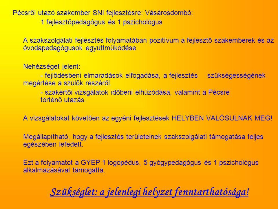Pécsről utazó szakember SNI fejlesztésre: Vásárosdombó: 1 fejlesztőpedagógus és 1 pszichológus A szakszolgálati fejlesztés folyamatában pozitívum a fejlesztő szakemberek és az óvodapedagógusok együttműködése Nehézséget jelent: - fejlődésbeni elmaradások elfogadása, a fejlesztés szükségességének megértése a szülők részéről.