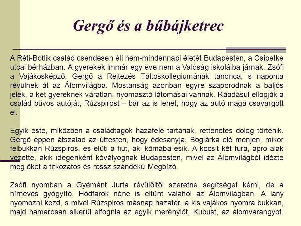 Gergő és a bűbájketrec A Réti-Botlik család csendesen éli nem-mindennapi életét Budapesten, a Csipetke utcai bérházban. A gyerekek immár egy éve nem a
