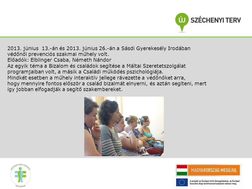 2013. június 13.-án és 2013. június 26.-án a Sásdi Gyerekesély Irodában védőnői prevenciós szakmai műhely volt. Előadók: Elblinger Csaba, Németh Nándo